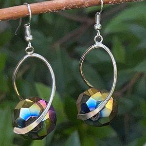 Artisan Silvertone Faceted Titanium Spin Earrings